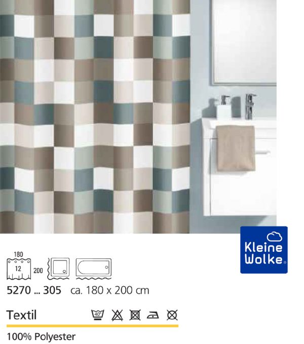 Duschvorhang Check, Farbe Taupe